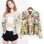 [Preorder] เสื้อแจ๊กเก็ตแขนยาวลายดอกไม้ แบรนด์ ZARA (ไซส์ S M L) European style 2014 new ZARA summer and loaded with money printing tropical jungle plants sleeved jacket sun