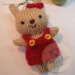 ตุ๊กตากระต่ายถัก ขนาด 8.5 cm. Benny(red brown)