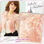 เสื้อคลุมแขนสั้นดอกกุหลาบประดับไข่มุกสีชมพู new summer rose lovers pearl collar of roses decorated with short-sleeved jacket shawl (Preorder)