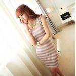 [Preorder] เดรสแฟชั่นแขนกุดลายขวางคอเหลี่ยม สีเขียวชมพู 2013 summer new Korean version of Women Stripe Square Neck Slim short-sleeved skirt dress