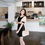 เดรสแฟชั่นเกาหลีสีดำตัดขาวตัดต่อแขนพองๆด้วยผ้าซีฟองสีขาว