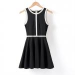 [Preorder] เดรสแฟชั่นสไตล์ยุโรปแขนกุด สีดำ Europe station 2013 summer new OL temperament mixed colors black and white vest skirt Slim was thin dress big