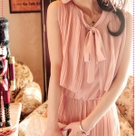 [Preorder] เดรสออกงานแขนกุดแฟชั่นเรสโทสีชมพู retro 80s Pleated College Wind fake two-piece sleeveless vest dress