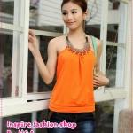 เสื้อสายเดี่ยวแฟชั่นประดับลูกปัดสีส้ม 2012 new vest the bottoming good quality cotton hanging neck halter top