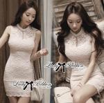 ชุดเดรสผ้าลูกไม้สวยสไตล์เกาหลีไปงานแต่งงานกลางวันและกลางคืน