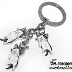 พวงกุญแจเหล็กแมวจี้ ท่านอน
