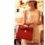 Axixibag กระเป๋าถือแฟชั่นสีแดงแต่งโบว์ใบใหญ่ แบบฝาเปิด มีสายสะพายยาว