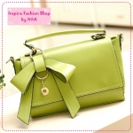 [Preorder] กระเป๋าแฟชั่นเก๋ๆ ประดับโบว์น่ารักสีเขียวอ่อน 2012 summer new Korean bow bags handbags handbags Messenger handbags