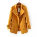 [Preorder] เสื้อโค้ทกันหนาวแฟชั่นแขนยาวสไตล์ยุโรป สีเหลือง (ไซส์ S M L XL) Cotton Village Station 2014 fall new European fashion ladies solid color simple oblique zipper sweater coat jacket women