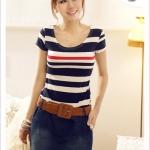 เดรสแขนกุดกระโปรงยีนส์ navy horizontal stripes colored stitching nude color dress