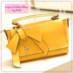 [Preorder] กระเป๋าแฟชั่นเก๋ๆ ประดับโบว์น่ารักสีเหลือง 2012 summer new Korean bow bags handbags handbags Messenger handbags