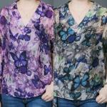 เสื้อชีฟองหางปลาคอวีทูนิคโอเวอร์ไซส์ พิมพ์ลายผีเสื้อกราฟฟิกสีสันสดใส