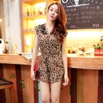 [Preorder] จั๊มสูทแฟชั่นแขนสั้นประดับลูกไม้ลายเสือดาว Beautiful believers the spring and summer of 2013 new sexy leopard chiffon lace shirt dress package hip culottes waist with