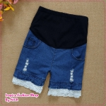 กางเกงยีนส์คลุมท้องแฟชั่นเก๋ๆ New Maternity Pants Maternity lace culottes denim culottes pregnant women shorts care belly pants