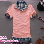 เสื้อโปโลแขนสั้นสีส้ม Summer 2012 New Men's T-shirt Slim false two T-shirts Korean men's fashion TEE tide