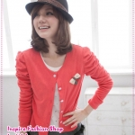 [Preorder] คาร์ดิแกนแฟชั่น (เสื้อคลุมแขนยาว) ประดับโบว์สีแดง spring new special attached butterfly knot pin princess sleeve short jacket