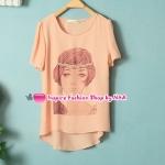 เสื้อแฟชั่นแขนสั้นสกรีนลายสีชมพูอ่อน Summer new female Korean fashion girl pattern round neck short-sleeved shirt wild leisure chiffon shirt
