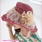 [Preorder] หมวกแฟชั่นปีกกว้างประดับดอกไม้สีชมพู summer 2012 the new special hole Floral baskets empty piping rattan hat