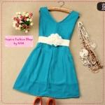 [Preorder] เดรสออกงานแฟชั่นคอวีแขนกุดสีฟ้าเขียว 2012 summer new Korean version shiny zipper natural Jane chiffon vest dress