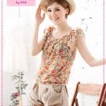 [Preorder] เซ็ทเสื้อลายดอกไม้กางเกงทรงฟักทองแฟชั่นเก๋ๆ สีส้ม 2012 new Floral Ruffled Sleeve Blouse + pumpkin shorts