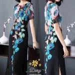 ชุดเดรสผ้าชีฟองเกาหลี พิมพ์ลายดอกไม้และใบไม้