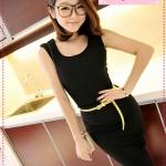 [Preorder] เซ็ทเสื้อแขนกุด + กระโปรง + เข็มขัด สีดำ JackGrace suit! Practical Slim T + package hip skirt to send the belt four-color