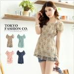 [Preorder] เสื้อแฟชั่นแขนสั้นตุ๊กตาลายดอก สี Apricot แบรนด์ Tokyo Fashion ของแท้ 100% Printed waist Figure Punta sleeves, chiffon blouse