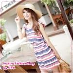 [Preorder] เดรสแฟชั่นแขนสั้นลายขวางสีน้ำเงิน round neck colors of the Korean version of the 2012 Summer Slim was thin color stripes waisted chiffon ocean dress