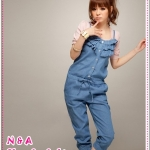 จั๊มสูทสายเดี่ยวยีนส์ Spring and summer of 2012 the new Korean Women lotus leaf collar seventh of denim coveralls pants