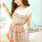 เดรสแขนสั้นหลากสีสันพร้อมเข็มขัดโบว์ early summer the new 2012 new Korean rainbow stitching dress (with a bow belt)