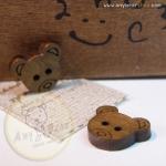 กระดุมไม้รูปหัวหมีขนาด 12 mm.