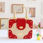 [Preorder] กระเป๋าสานชายทะเลน่ารักทรงสีเหลี่ยมแบรนด์ Liza Liza สีแดง Straw bag new 2013 Japanese liz lisa peppers idyllic beach woven rattan bag influx of women