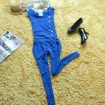 [Preorder] จั๊มสูทแฟชั่นแขนกุดขายาวสไตล์ยุโรป สีน้ำเงิน 2013 Korean version of the Slim Chiffon Siamese pants sleeveless high waist single breasted