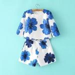 [Preorder] เซ็ทเสื้อแฟชั่นแขนสั้นลายดอกไม้สีน้ำเงิน + กางเกงขาสั้นลายเดียวกับเสื้อ (ไซส์ S M L) MICN 2015 summer new women's fashion big flower print short sleeve shirt + high waist shorts suit