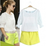 [Preorder] เซ็ทเสื้อแขนสามส่วน + กางเกงขาสั้นสีเหลือง (Size S M L XL) The new Europe summer 2014 catwalk station fluorescent yellow cotton shirt + shorts skirt wrapped chest leisure suits