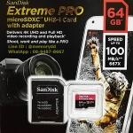 MicroSD Sandisk ExtremePro 64GB 100MB/s ประกันศูนย์ Lifetime