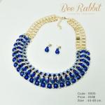 เซ็ทต่างหู สร้อยคอสีทอง คริสตัลสีฟ้าและพลอยสีน้ำเงิน,ลูกปัดสีน้ำเงินด้าน