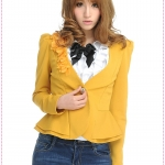 เสื้อสูททำงานแฟชั่นแขนยาวประดับดอกไม้สีเหลือง 2012 spring new Korean female models, fashion Slim three-dimensional flowers, gold buckle V collar Puff suit jacket