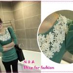 เสื้อแขนยาวแฟชั่นสีเขียว paragraph pearl embellishment flowers round neck long-sleeve