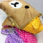 หมอนผ้าห่ม ริลัคคุมะ มี2ขนาด:5ฟุต และ 3ฟุต เนื้อผ้านาโน นิ่มมากๆ เย็บขอบ อุ่นกว่าเดิม Rilakkuma