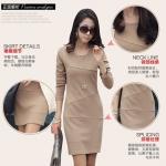 [Preorder] เดรสทำงานแฟชั่นแขนยาวเข้ารูปสีเบจ (ไซส์ S - ไซส์ XXL) 2014 Spring and Autumn new Korean version was thin long-sleeved base skirt big yards temperament Slim dress