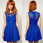 [Preorder] เดรสแฟชั่นแขนกุด แบรนด์ ASOS สีน้ำเงิน 2013 spring and summer new women asos the British Wind irregular hollow carved sleeveless vest dress