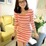 เดรสแขนยาวลายขวางสีชมพูขาว JackGrace fresh is Smart! Striped V-neck Slim dress color