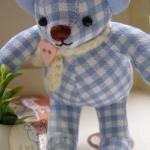 ตุ๊กตาหมีผ้าลายสก๊อตสีฟ้าขนาด 9.5 cm. - Niza
