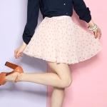 ♥♥ สีชมพูพร้อมส่ง ♥♥ กระโปรงสั้นสีชมพูลายจุด ผ้าชีฟองพริ้วสวยเนื้อดี