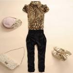 [Preorder] จั๊มสูทแฟชั่นแขนกุดขาสามส่วนเอวยืดลายเสือดาว สีน้ำตาล 2013 new coveralls Women Slim thin short-sleeved seventh chiffon harem Siamese pants Korean Rompers