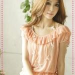 เสื้อแขนสั้นตุ๊กตาสีชมพู Fine pleated waist chiffon to wear the shirt pink Tokyo fashion 100%
