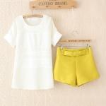 [Preorder] เซ็ทเสื้อแขนสั้นสีขาว + กางเกงขาสั้นประดับโบว์สีเหลืองเลม่อน (ไซส์ M L) 2014 summer new Korean chiffon blouses ladies stitching T-shirt + shorts leisure suits