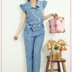จั๊มสูทยีนส์ขายาวลายจุด 2012 spring new Women Department cute shrug point double-breasted denim coveralls pants trousers