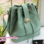 กระเป๋าแฟชั่นทรงขนมจีบสีเขียว 2012 new handbag of Mahogany Shop Korea retro postman bag influx of European and American Messenger bucket bag